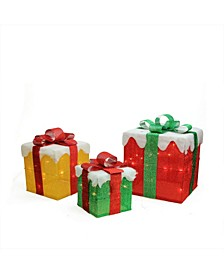 Set of 3 Lighted Gold Green and Red Gift Boxes Christmas Outdoor Decorations