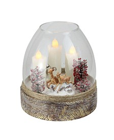 "5"" Clear Glass Reindeer Scene Flickering Candle Winter Jar Decoration"