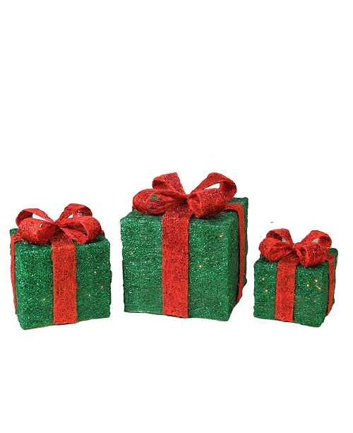 Northlight Set of 3 Lighted Sparkling Green Sisal Gift Boxes Christmas Outdoor Decorations