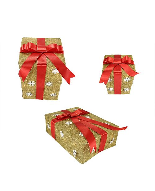 Northlight Set of 3 Gold Snowflake Sisal Gift Boxes Lighted Christmas Outdoor Decorations