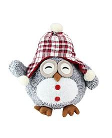 "12"" Gray Owl With Plaid Bennie Cap Plush Table Top Christmas Figure"