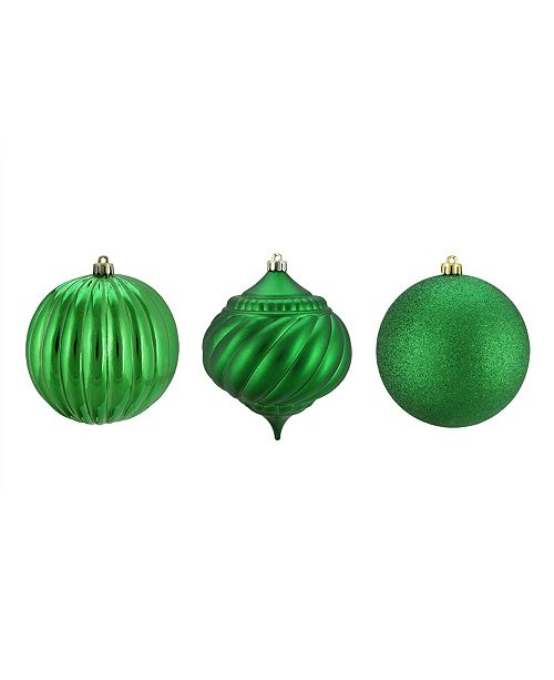"""Northlight 3ct Green 3-Finish Shatterproof Onion and Ball Christmas Ornaments 4.75"""" 120mm"""