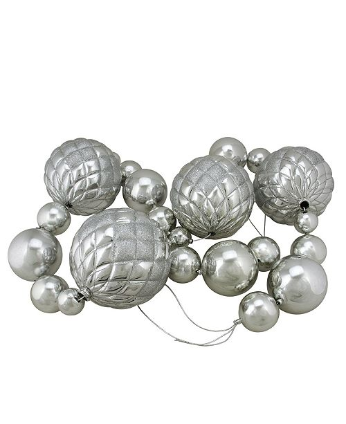 Northlight 6' Oversized Shatterproof Shiny Silver Christmas Ball Garland with Glitter Accents
