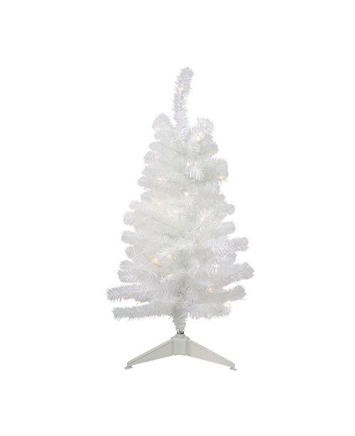 Northlight 3' Pre-Lit White Iridescent Artificial Tinsel Christmas Tree- Clear Lights