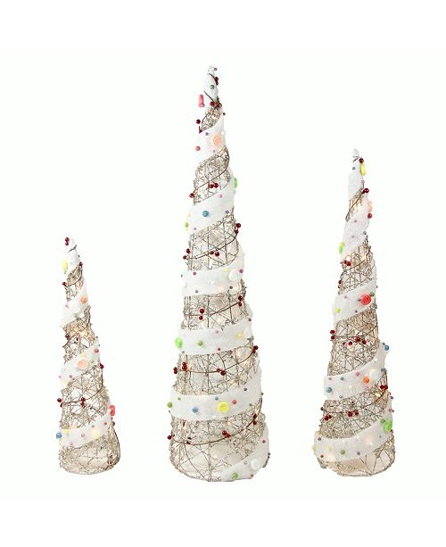 """Northlight Set of 3 Lighted Champagne Gold Rattan Candy Covered Cone Tree Christmas Outdoor Decorations 39.25"""""""