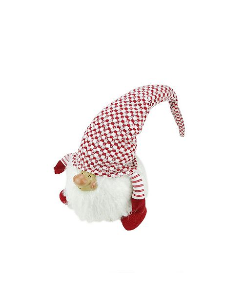 "Northlight 14.75"" Red and White ""Cheerful Charlie"" Sitting Chubby Santa Gnome Table Top Christmas Figure"