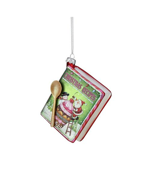 "Northlight 4"" Red and Green Glittered ""CHRISTMAS RECIPES"" Glass Book Ornament"