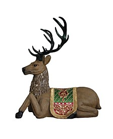 Commercial Grade Sitting Reindeer Fiberglass Christmas Decoration