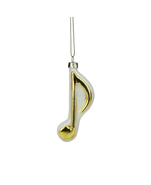 "Northlight 3.5"" Gold and White Sixteenth Note Music Symbol Glass Christmas Ornament"