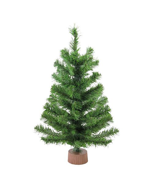 "Northlight 24"" Mini Pine Artificial Christmas Tree in Faux Wood Base - Unlit"