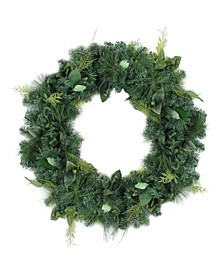 """36"""" Assorted Green Foliage and Needle Branch Christmas Wreath- Unlit"""