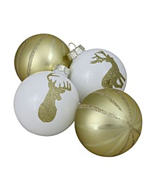 """4ct Champagne Gold and White Striped Deer Christmas Glass Ball Ornaments 4.5"""" 100 mm"""