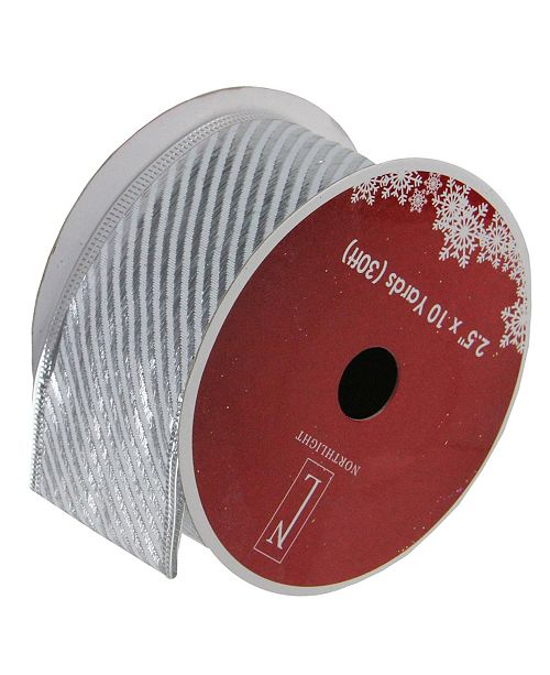 """Northlight Pack of 12 Shiny Silver Diagonal Striped Wired Christmas Craft Ribbon Spools - 2.5"""" x 120 Yards Total"""