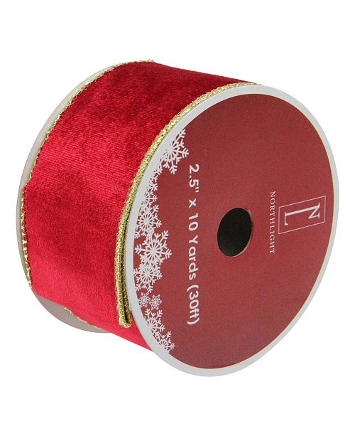 """Northlight Pack of 12 Solid Bright Red Wired Christmas Craft Ribbon Spools - 2.5"""" x 120 Yards Total"""