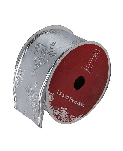 Northlight Pack of 12 Silver-Tone Glittering Trees Powder Wired Christmas Craft Ribbon Spools Yards