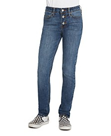 Big Girls 5 Pocket Exposed Button Skinny Jeans
