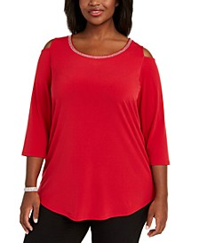 Plus Size Diamonte-Trim Cold-Shoulder Tunic, Created for Macy's