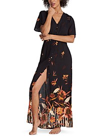 Juniors' Autumn Breeze Floral-Print Maxi Dress
