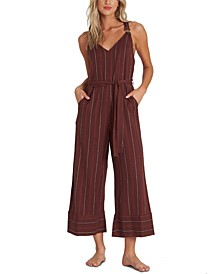 Juniors' Bella Day Striped Cropped Jumpsuit