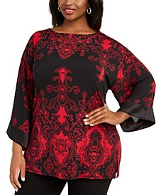 Plus Size Printed Sparkle Top, Created For Macy's