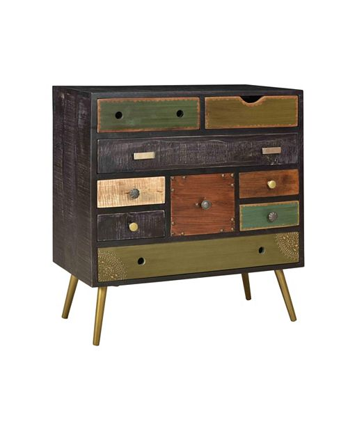 Coast to Coast Multi-Color Nine Drawer Accent Chest, Quick Ship