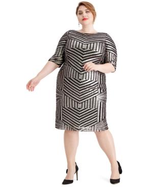 1930s Art Deco Plus Size Dresses | Tea Dresses, Party Dresses R  M Richards Plus Size Sequined Sheath Dress $139.00 AT vintagedancer.com