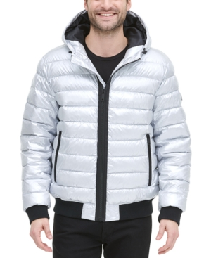 Dkny Men S Quilted Pearlized Nylon Hooded Bomber Jacket