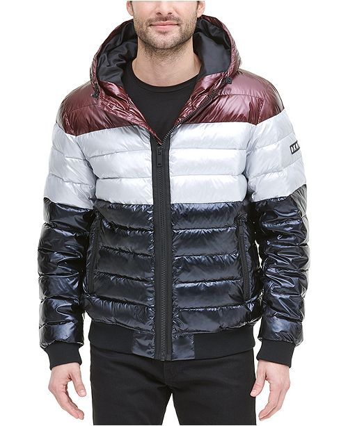 DKNY Men's Quilted Pearlized Nylon Hooded Bomber Jacket, Created For Macy's