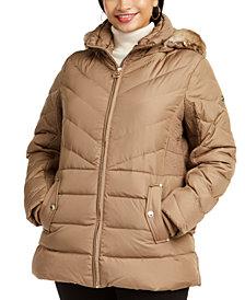 Michael Michael Kors Plus Size Faux-Fur-Trim Hooded Puffer Coat, Created for Macy's