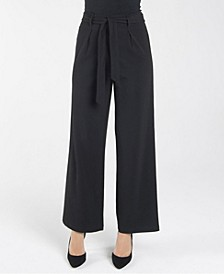 Elastic Stretch Regular Wide Leg Loose Pant with Self Sash Belt