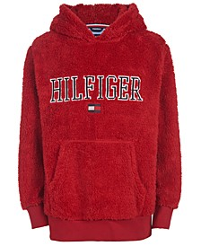 Little Boys Eddie Red Fleece Logo Hoodie