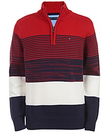 Big Boys Ryan Colorblocked Stripe 1/4-Zip Sweater