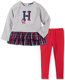 Little Girls 2-Pc. Mesh-Hem Sweatshirt & Leggings Set