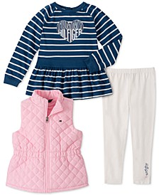 Toddler Girls 3-Pc. Quilted Vest, Striped Top & Leggings Set