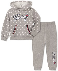 Toddler Girls 2-Pc. Polka-Dot Hoodie & Fleece Jogger Pants Set