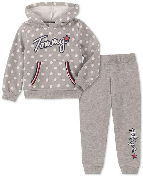 Tommy Hilfiger Toddler Girls 2-Pc. Polka-Dot Hoodie & Fleece Jogger Pants Set