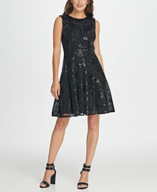 Sequins Mesh Fit & Flare Dress