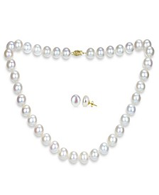 White Freshwater Cultured Pearl (11-11.5 mm) Strand Necklace and Stud Earrings Set in 14k Yellow Gold