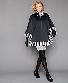 Rabbit-Fur-Trim Cape