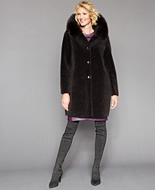 Shearling Lamb Fox-Fur-Trim Hooded Coat