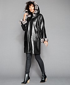 Rabbit-Fur-Trim Hooded Leather Coat