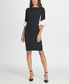 Colorblock Bell Sleeve Sheath Dress