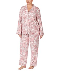 Plus Size Cotton Printed Top & Pants Pajama Set