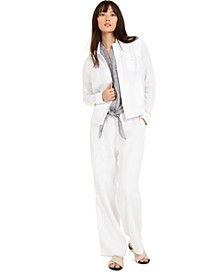 Linen Jacket, Linen Tie-Front Shirt & Linen Drawstring Pants, Created for Macy's