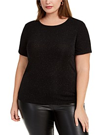 Trendy Plus Size Textured Sparkle T-Shirt, Created For Macy's
