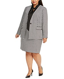 Plus Size Houndstooth Blazer, Tie-Neck Top & Pencil Skirt