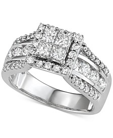 Diamond Quad Cluster Engagement Ring (2 ct. t.w.) in 14k White Gold