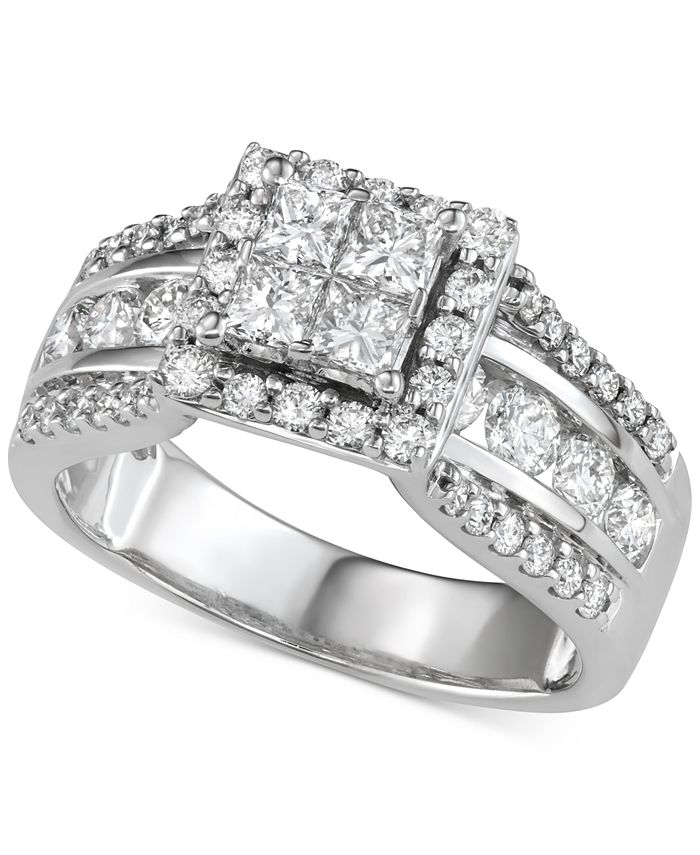 Macy's - Diamond Quad Cluster Engagement Ring (2 ct. t.w.) in 14k White Gold