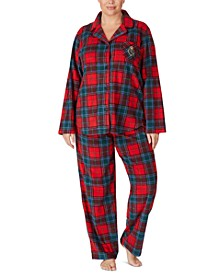 Plus Size Flannel Shirt & Pants Pajamas Set
