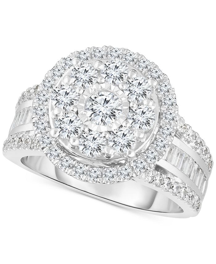 TruMiracle - Diamond Halo Cluster Engagement Ring (2 ct. t.w.) in 10k White Gold